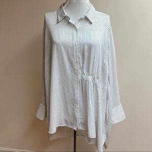 Rachel Roy Long Sleeve White Striped Tunic Blouse